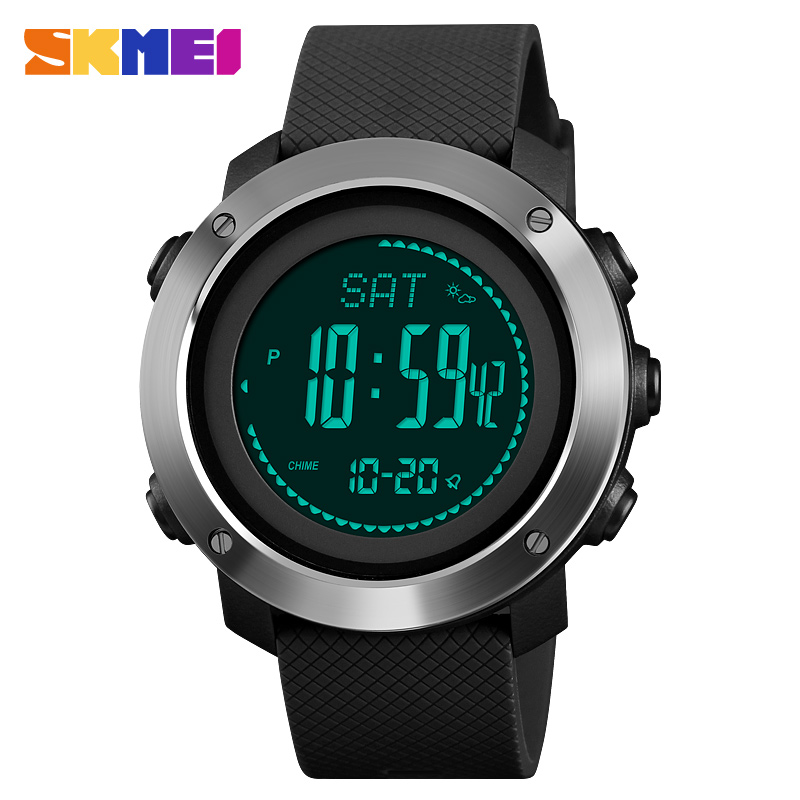 US $24 99 40% OFF Compass Men Digital Sport Calories Watches Thermometer  Weather Forecast LED Watch Luxury Pedometer Compass Mileage Metronome-in