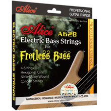1 Set Original Alice 4-String Electric Bass Strings Hexagonal Core Nickel Alloy Wound Gold-Plated Ball-End A628