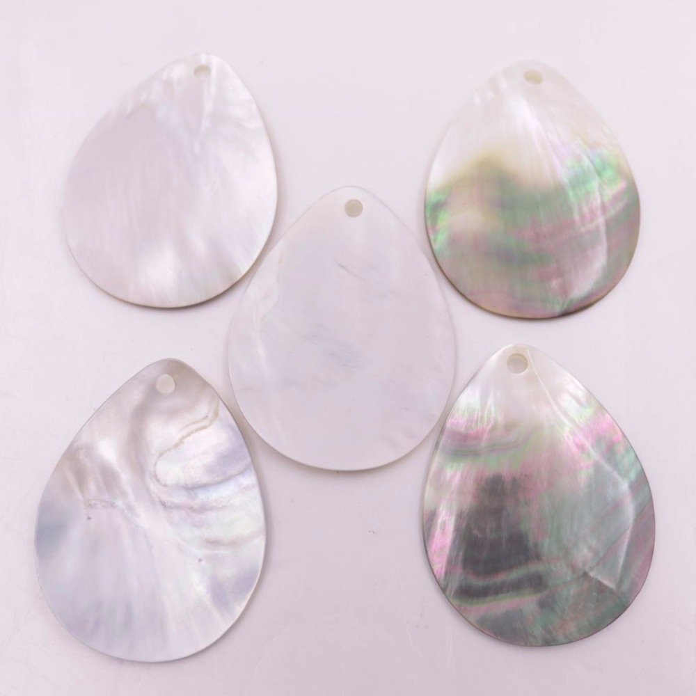 Купить с кэшбэком 5 PCS 32mmX40mm Shell Natural Gray Black Mother of Pearl Loose Beads Drop Shape