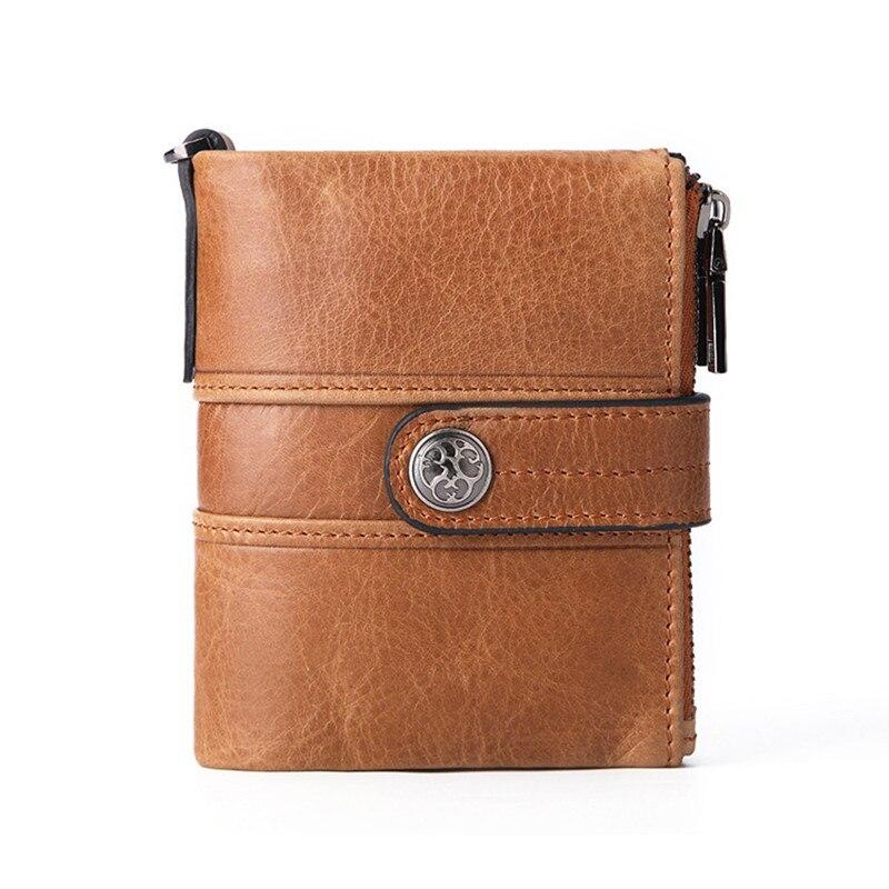 Men Wallet Oil Wax Cowhide Genuine Leather Wallets Coin Purse Clutch Hasp Open Top Quality Retro Short Wallet fashion 351