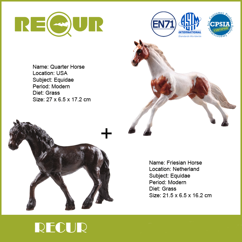 2 pcs/lot Recur Delicate Friesian Horse+Quarter Horse Hand Painted Soft PVC Farm Animal Model Collection Action & Figures Toys бумажник extreme horse imperial horse