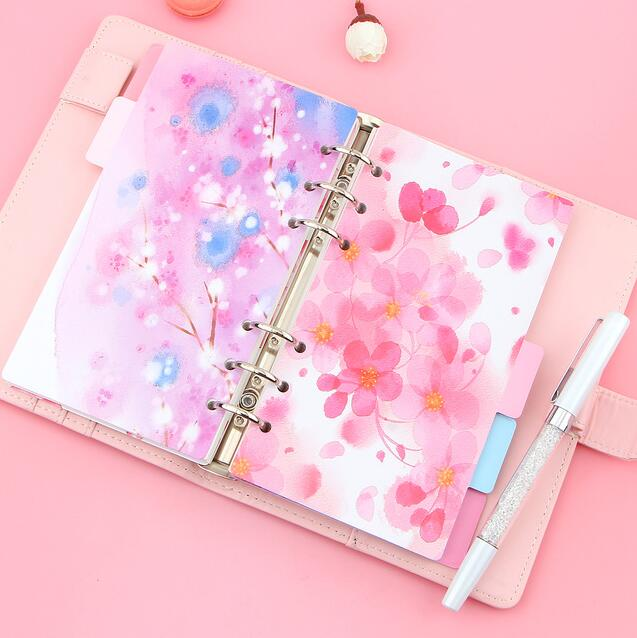 все цены на 5pcs/lot Cherry Blossom Diary Notebook Accessories Creative A5/A6 Spiral Dividers Planner Filler Paper Matching Dokibook Filofax онлайн