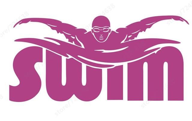 Zwemmer muurstickers zwembad decoratie stickers slaapkamer decoratie ...