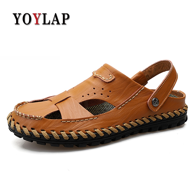 Yoylap Genuine leather men sandals summer cow leather new for beach male shoes mens gladiator sandal plus szie 38-46