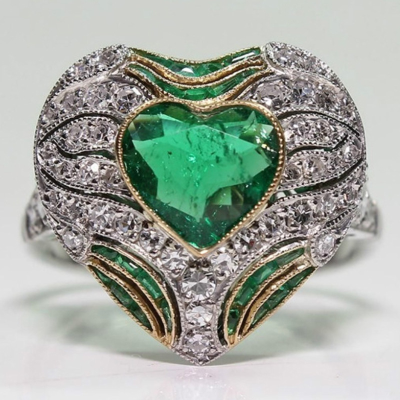 Latest Vintage Style Ring Engagement Heart Shape Green Jewelry Shine Pave Crystal Party Wedding For Women Accessories