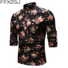 FFXZSJ men's fashion youth spring/autumn printed long-sleeved daily breathable linen shirt with stand-up collar and floral shirt 2019men slim plain long sleeved fashionable stand up collar shirt and shirt
