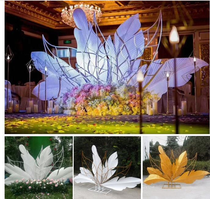New Wedding Props Iron Screen Wedding Stage Generation Tianjiao Road Lead Decoration Background Wedding Feather Background.