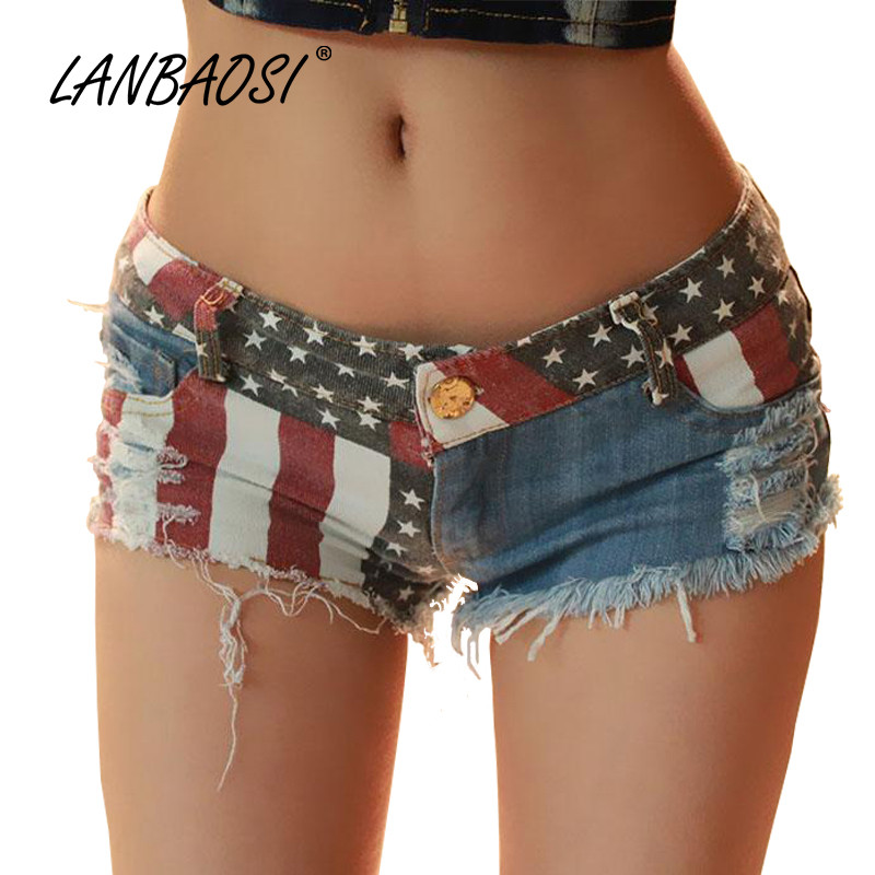 LANBAOSI Fashion Shorts Women Denim Short Feminine Hot Sexy Ripped Hole Fringe Jeans Low Waist Slim Bermuda Feminine Short Jeans