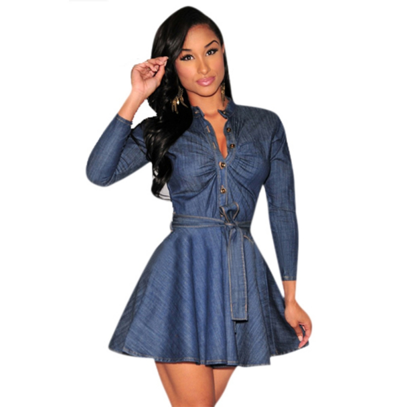 4378b4d641b Newest Women Casual Short Mini Dress Denim Jean Belted Dress Long Sleeve Shirt  Dresses Factory Price-in Dresses from Women's Clothing on Aliexpress.com ...
