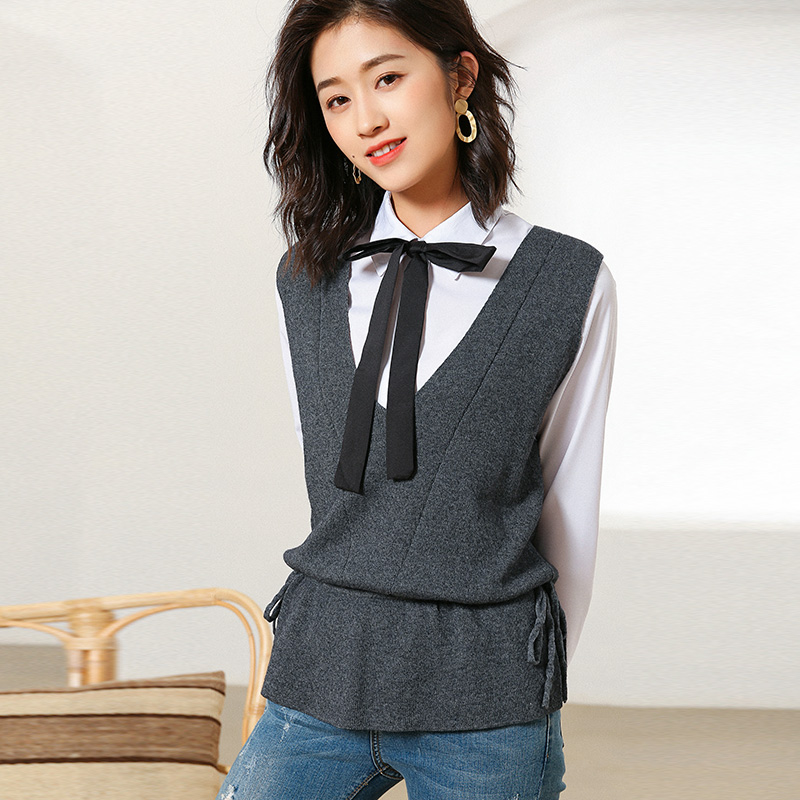 MVLYFLRT Spring and Autumn New Casual Drawstring Vest Short Paragraph Outside Set Vest vest Loose Sleeveless vest V-Neck Blouse