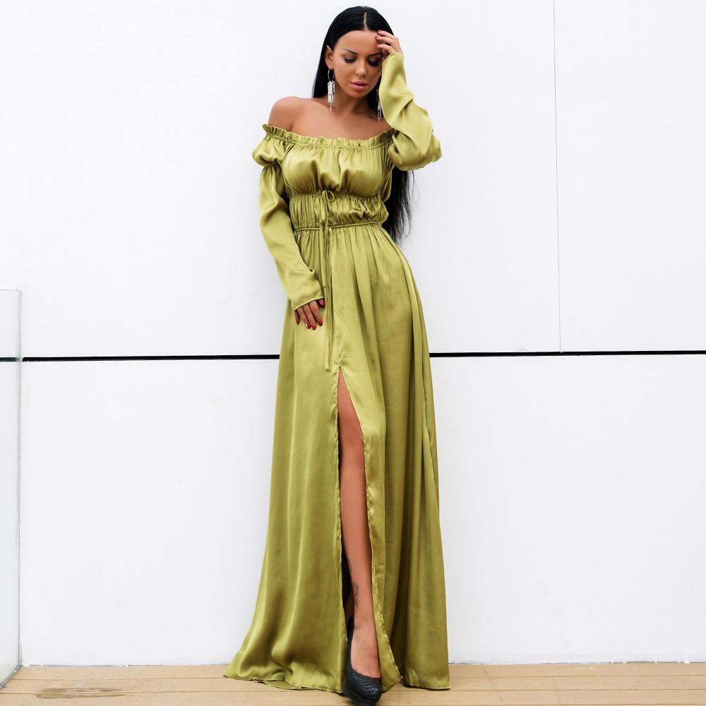 Celebrity Nu De Robe Con Vacances Empire L'épaule Mode Spéciale Femmes En Slash Army Offre Fente Robes Green Corps Gros Sexy Cou Dos IYgv6yb7f