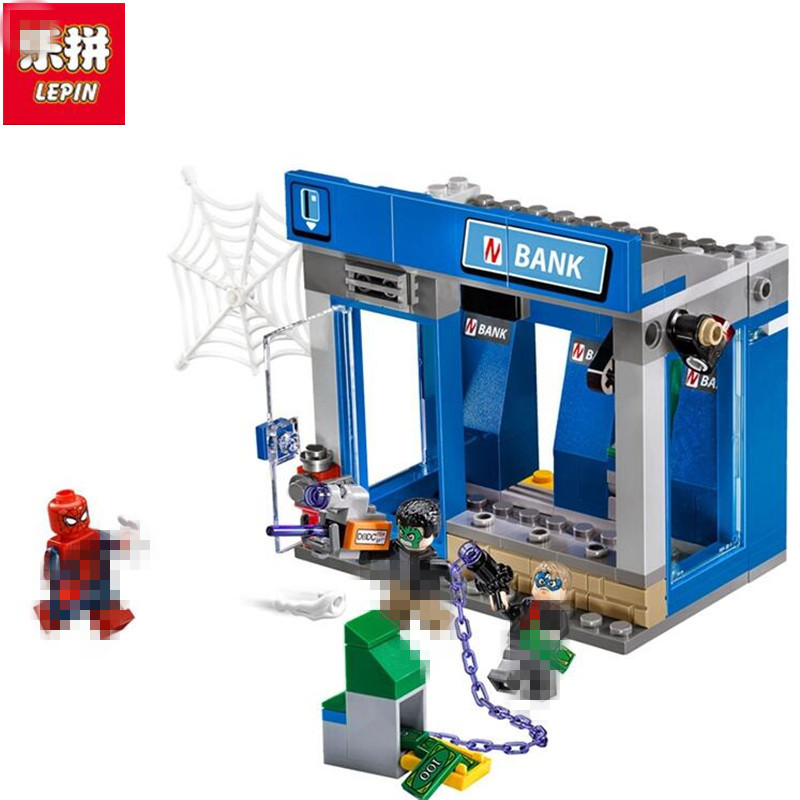 Lepin 07089 204pcs Building Blocks Bricks Marvel Super Heroes Spiderman The ATM thief battle Set Children Educational Toys Gift