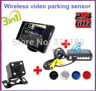 цена на Wireless Video Parking Radar 4 Sensors Kit 3.5 inch Car Rear View Mirror Monitor + LED Rear View Car Camera Parking Assistance