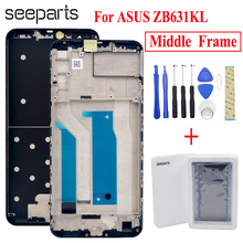 Zwart Voor Asus Zenfone Max Pro (M2) ZB631KL Behuizing Midden Frame Bezel Midden Vervangende Onderdelen Voor ASUS ZB631KL Midden Frame