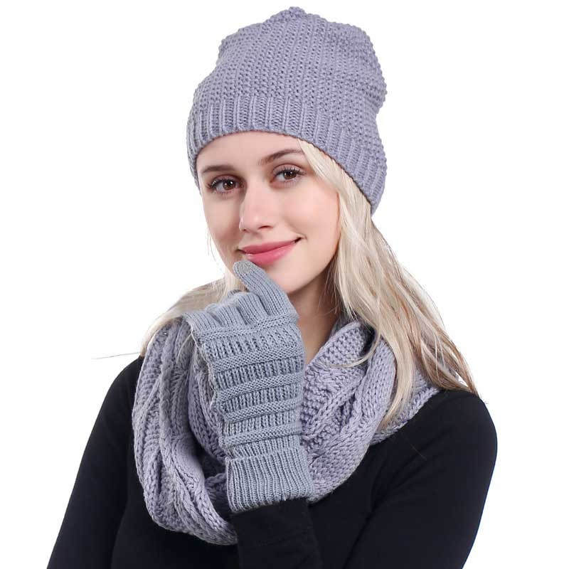 Ponytail Beanie Women Scarf Hat Glove Sets Knitted Winter Cap Warm Skullies Beanies Woolen Hats Casual Female Slouchy Knit Caps