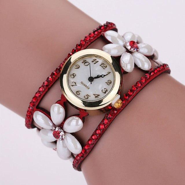 Fashion Women Bracelet Watches Pearl Flower Diamond Dress Clock Wide Hollow Band