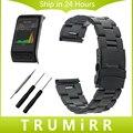 24mm correa de acero inoxidable + herramienta para garmin vivoactive horas reloj banda de seguridad hebilla de correa de muñeca pulsera de oro negro plata