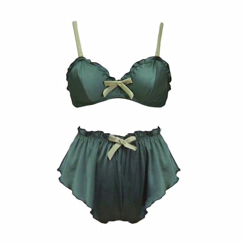 Image 3 - women silk sexy bralette panties sleepwear bra set wireless lingerie young ladies underwear fashion triangle thin pad intimates-in Bra & Brief Sets from Underwear & Sleepwears