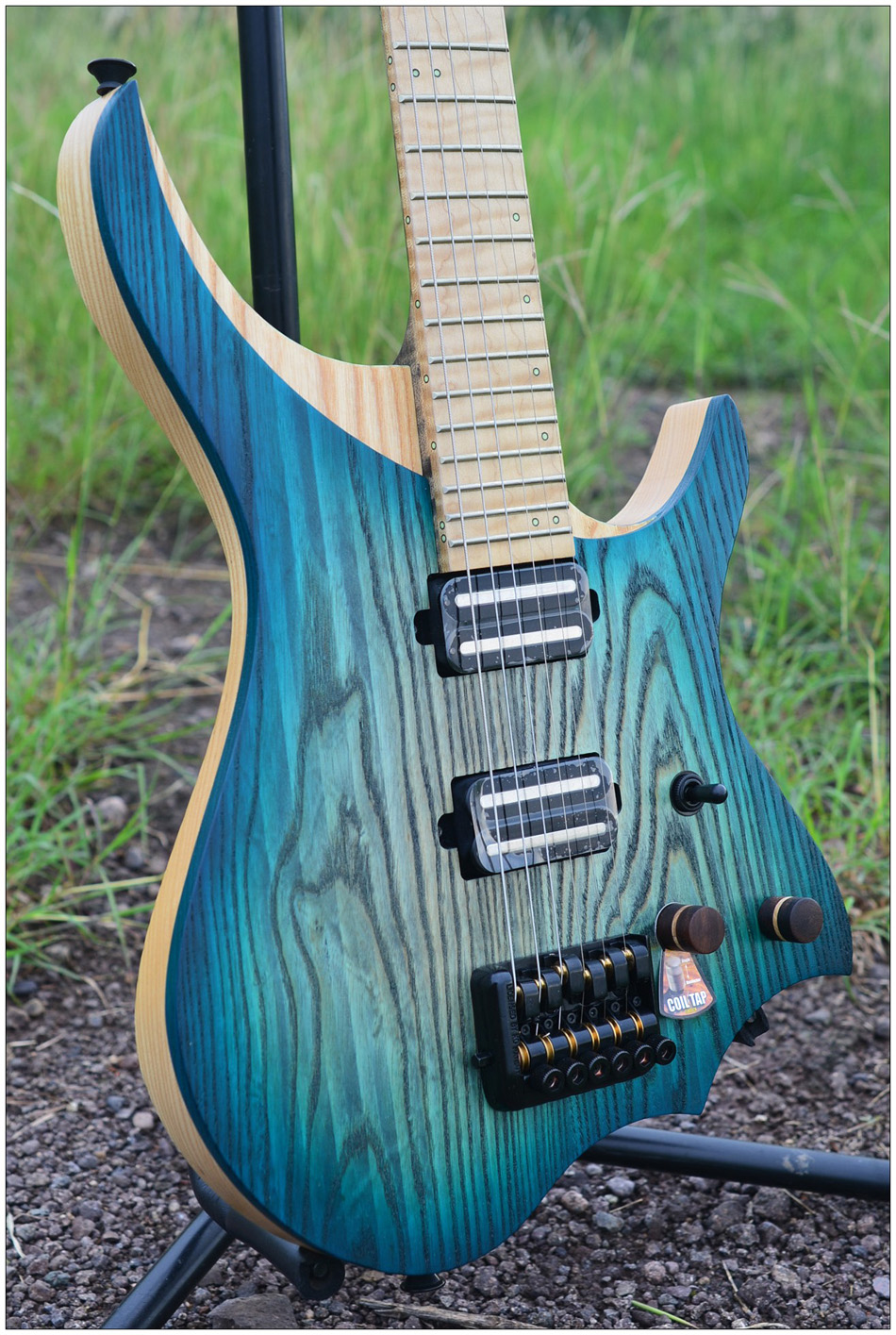NK Sans Tête Guitare Électrique steinberger style Modèle Blue burst Couleur Blanc Flamme manche érable en stock Guitare livraison gratuite