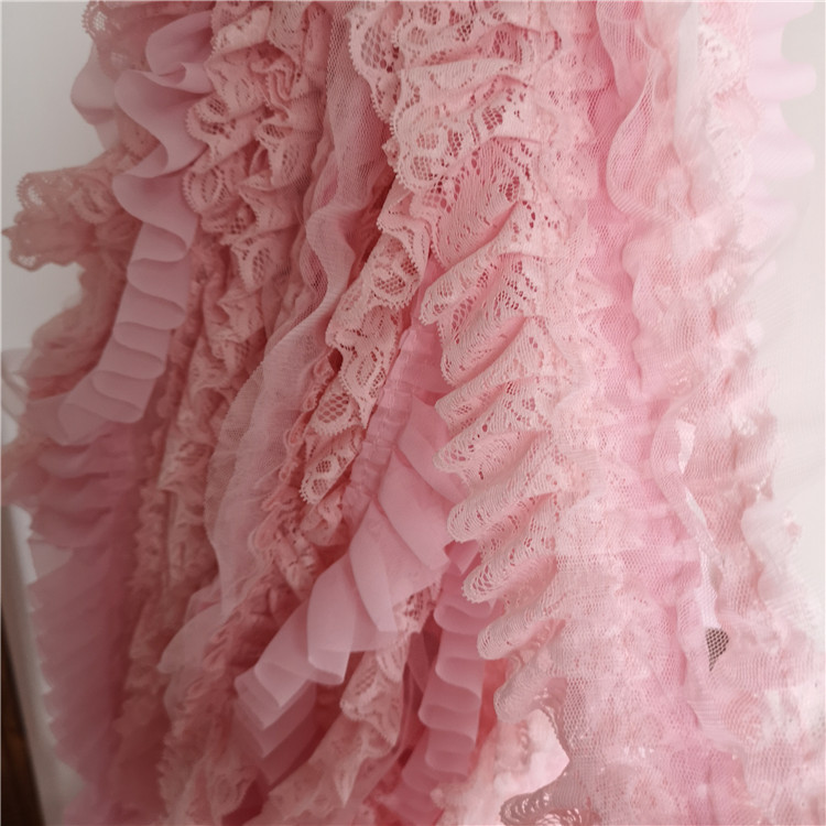 10cm Wide Three layer Pink Chiffon Beautiful Lace Fabric DIY Dress Shoulder Strap Skirt Cuffs Decorative Sewing Accessories in Lace from Home Garden