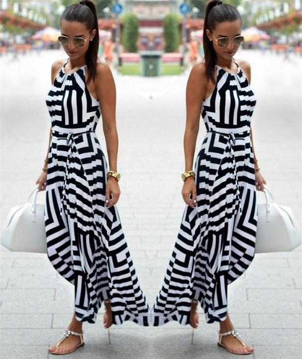 7438bf768a0 Must-valge triibuline pikk kleit