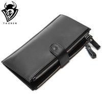 Man Wallet 100 Genuine Leather Black Color Large Capacity Men S Vintage Wallets