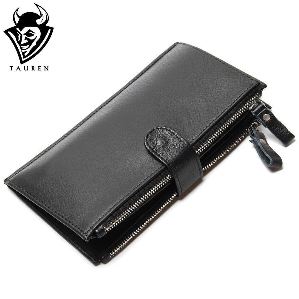 Man Wallet 100 Genuine Leather Black Color Large Capacity Men s Vintage Retro Wallets