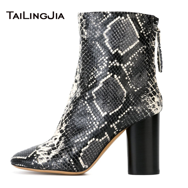 New Snake Print Woman Ankle Boots With Zipper Block Heel Pointed Toe Ladies Popular Boots High Quality Winter Keep Warm Boots