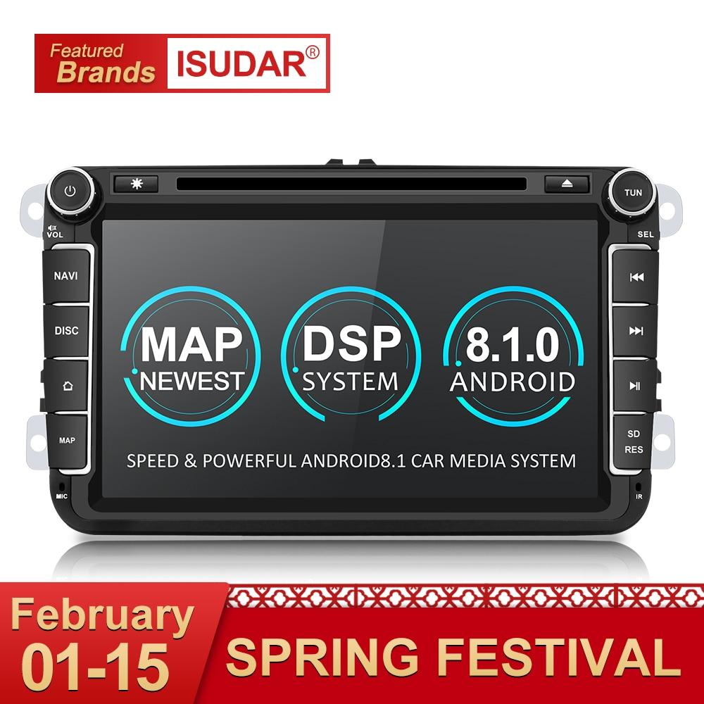 Isudar 2 Din reproductor Multimedia Android 8,1 Radio Auto para Skoda/Seat/Volkswagen/VW/Passat b7/POLO/GOLF 5 6 DVD GPS Quad-core
