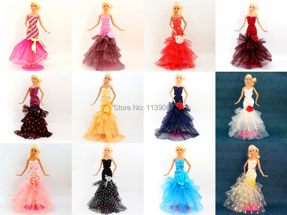 Heaps 10 Pcs Handmade Doll Night Celebration Costume Outfit Clothes Trend Robe Lace Flower Skirt For 1/6 Barbie Kurhn Doll Free Ship
