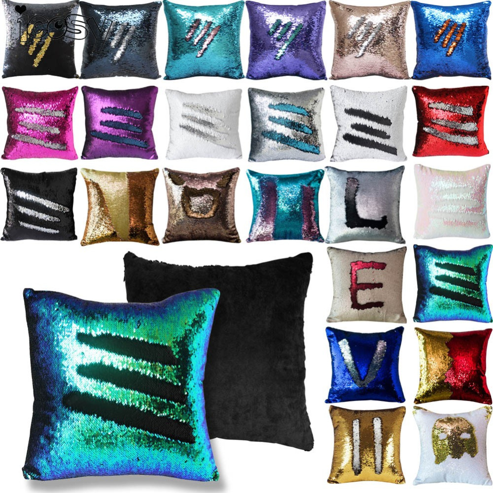 Color change online - Reversible Sequin Mermaid Sequin Pillow Magical Color Changing Throw Pillow Cover Home Decor Cushion Cover Decorative