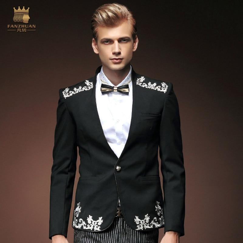 Fanzhuan Free Shipping New Fashion Men Long Sleeved Slim Black Casual Suit Jacket Single Western Banquet Blazer 0005 On Sale Man