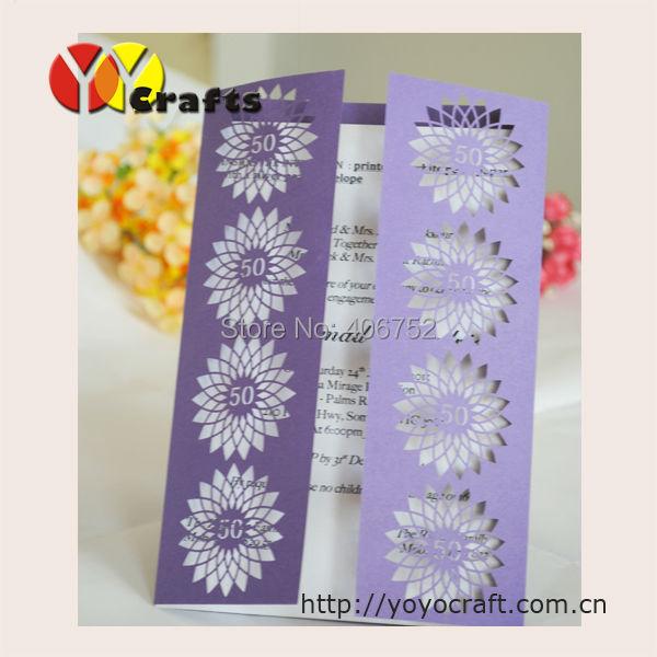 Inc76 Customized Purple Birthday Card For 50th Invitation Elegant Folk Art Wedding