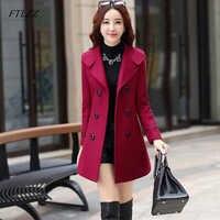 FTLZZ Frauen Wolle Mischung Warme Lange Mantel Plus Größe Weibliche Slim Fit Revers Woolen Mantel Herbst Winter Kaschmir Oberbekleidung