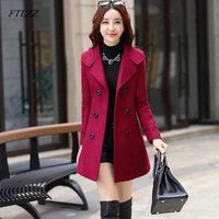 FTLZZ Women Wool Blend Warm Long Coat Plus Size Female Slim Fit Lapel Woolen Overcoat Autumn Winter Cashmere Outerwear