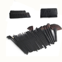 Hot 32pcs Professional Makeup Brushes Cosmetic Bag Black Foundation Eyebrow Blusher Brushes Synthetic Hair Brushes Free