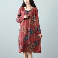 F JE 2018 Spring Autumn New Fashion Women Brand Clothing Vintage Print Loose Casual Dress Plus