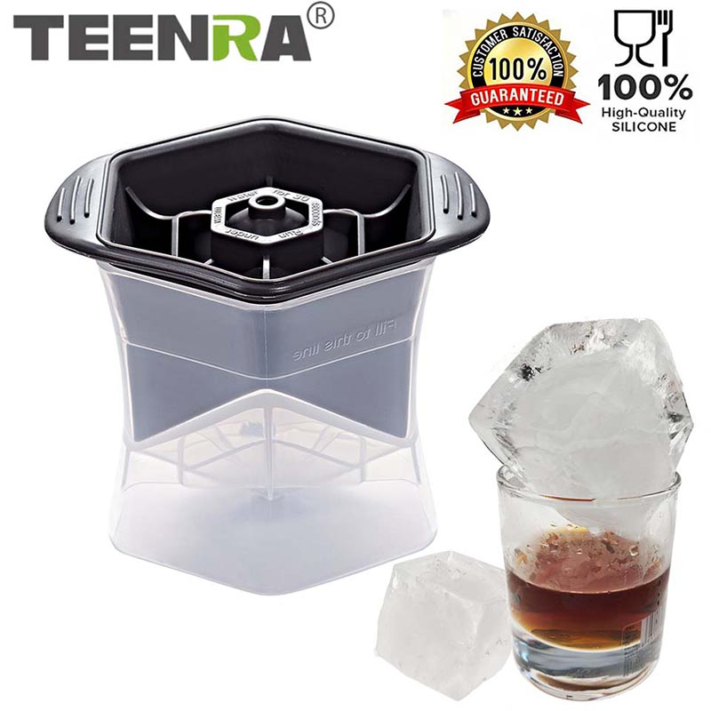 TEENRA 1Pcs Colossal Cube Mold Silicone Ice Cube Mold PP Square Ice Tray Big Ice Cube Cocktails Whisky Drink Beverage Kitchen