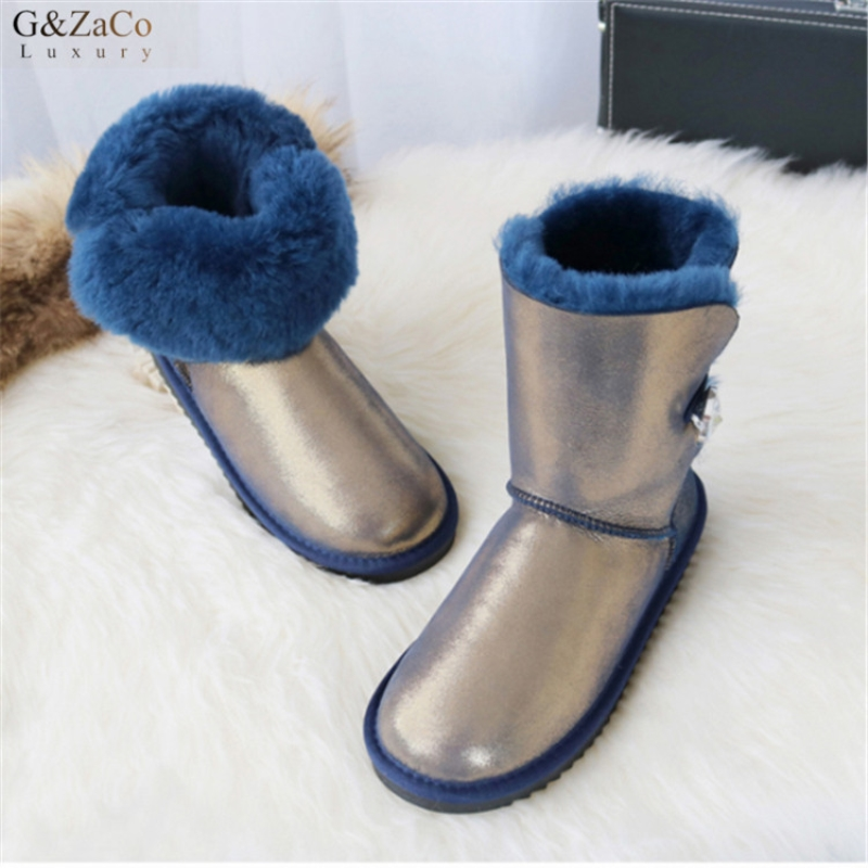 G&Zaco Luxury Sheepskin Snow Boots Natural Wool Middle Calf Boots Warm Winter Shoes Flat  Genuine Leather Sheep Fur Women BootG&Zaco Luxury Sheepskin Snow Boots Natural Wool Middle Calf Boots Warm Winter Shoes Flat  Genuine Leather Sheep Fur Women Boot
