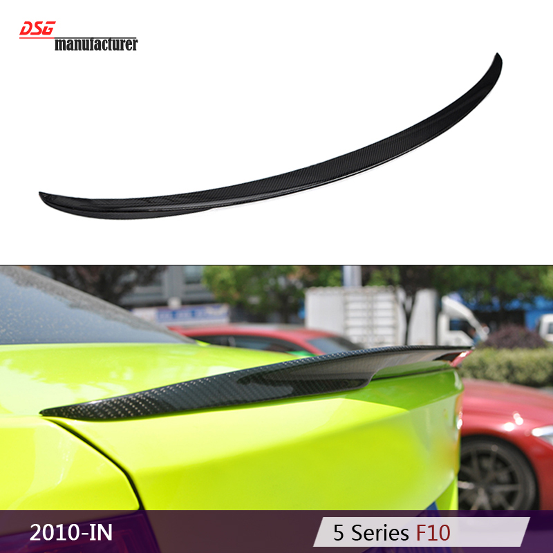 2010 - 2016 M performance style F10 carbon fiber rear trunk spoiler for BMW 5 series 518d 520i 525d 530i 535i 550i car styling replacement car styling carbon fiber abs rear side door mirror cover for bmw 5 series f10 gt f07 lci 2014 523i 528i 535i