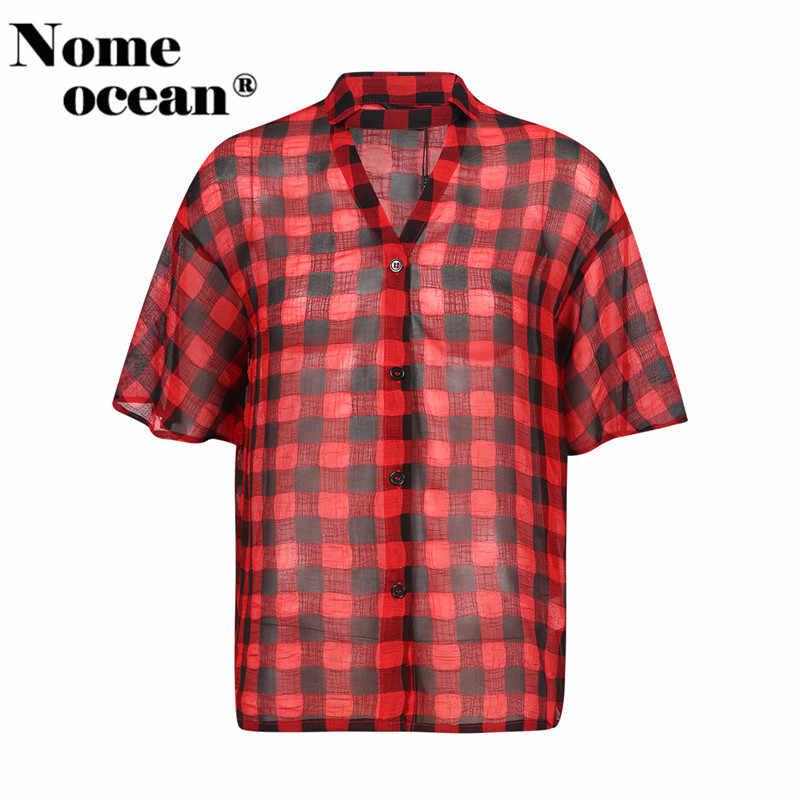 Прозрачные рубашки в клетку колье деталь Cut Out Для женщин Блузки для малышек 2018 Летняя рубашка с короткими рукавами для Для женщин Красного и черного цветов M17052306