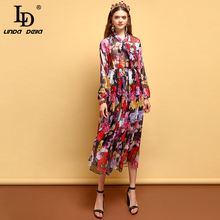 LD LINDA DELLA Fashion Summer Dress Women's Lantern Sleeve Bow Tie Draped Mesh Overlay Floral Print Elegant Vintage  Midi Dress