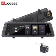 RUCCESS 10 дюймов полный сенсорный Видеорегистраторы для автомобилей Зеркало заднего вида Камера 3g Android 5,0 gps навигатор Full HD Двойной объектив тире Камера
