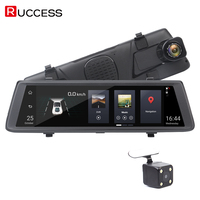 RUCCESS 10 inch Full Touch Car DVR Rearview Mirror Camera 3G Android 5.0 GPS Navigator Full HD Dual Lens Dash Camera