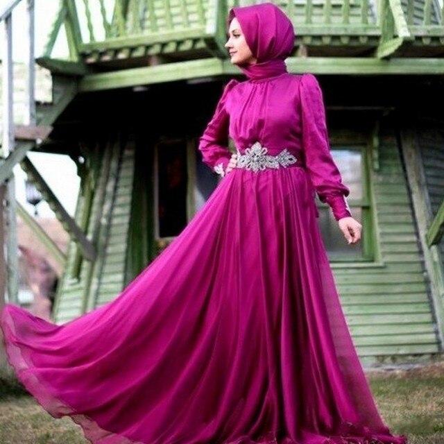 Superb Muslim Wedding Dresses Long Sleeve Chiffon Fuchsia Dress Sash Beaded Elegant Vestido De Noiva