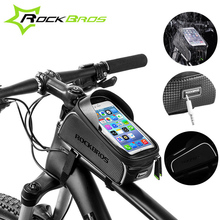 ROCKBROS Bicycle Cycling Bag Waterproof Touch Screen Bike Top Front Tube Frame Bag for MTB Road Bike 6.0 Phone Case Accessories cbr outdoor cycling bike touch screen top tube bag black grey