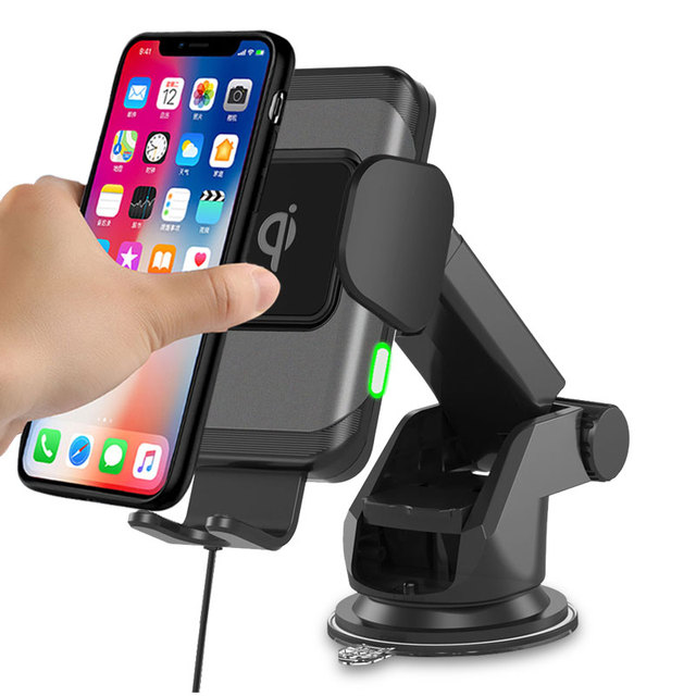 wireless car charger for iphonex xs automatic induction qi wireless car holder for samsung s8 s9 rotatable car charger bracket