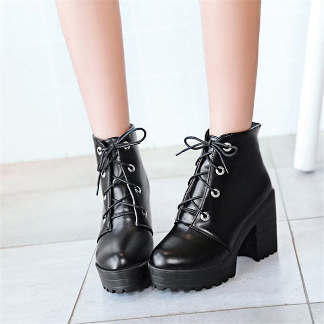 be7ea26873dc PXELENA Gothic Punk Rock Platform Chunky Block High Heels Ankle Boots For Women  Shoes Lace Up Martin Boots Ladies Black White