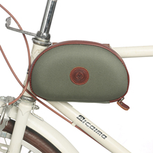 Tourbon Retro Bike Frame Tube Bag Bicycle Front Handlebar Pouch Carrier Green Waxed Canvas Waterproof Cycling Accessories tourbon vintage bicycle handlebar bag cycling backpack frame case full genuine leather pouch bike accessories
