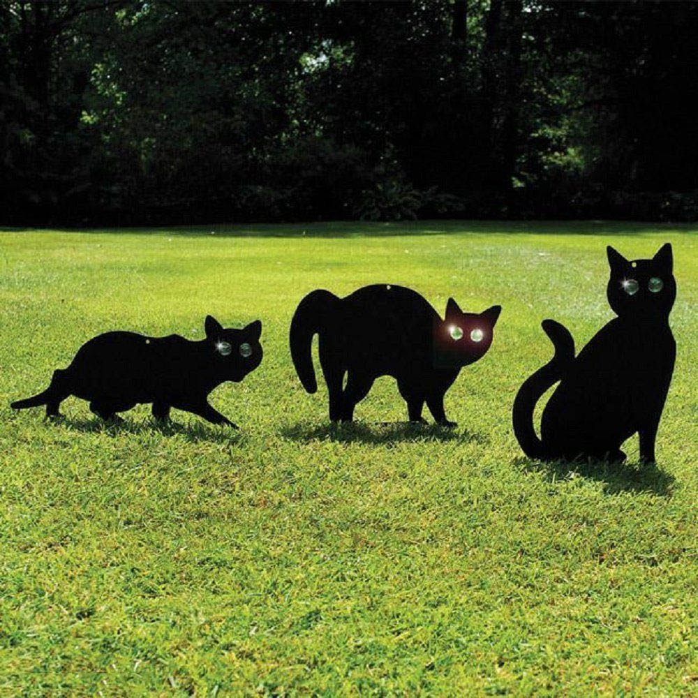 3pec Black Metal Scare Cats Pest Control Scarer Repeller Cat Deterrant Black Cat